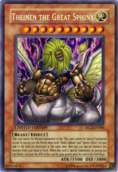 Theinen the Great Sphinx, one of the hardest Yugioh monsters to summon