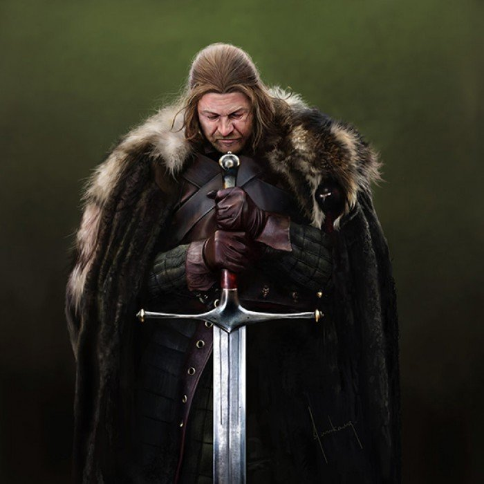 Ned Stark holding Ice, the Stark's ancestral sword