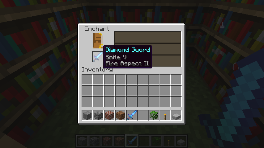An enchanted sword in Minecraft