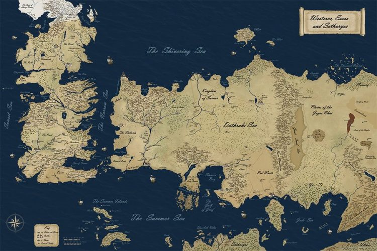 A map of the known continents in the Game of Thrones universe