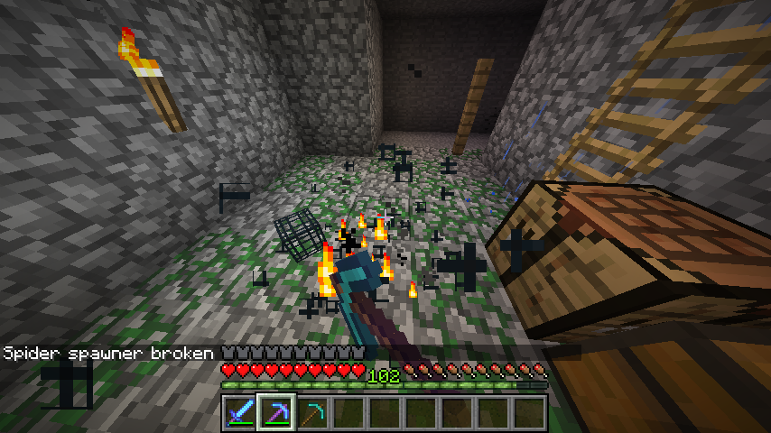 Breaking a Mob Spawner in Minecraft