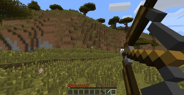Shooting a bow in Minecraft
