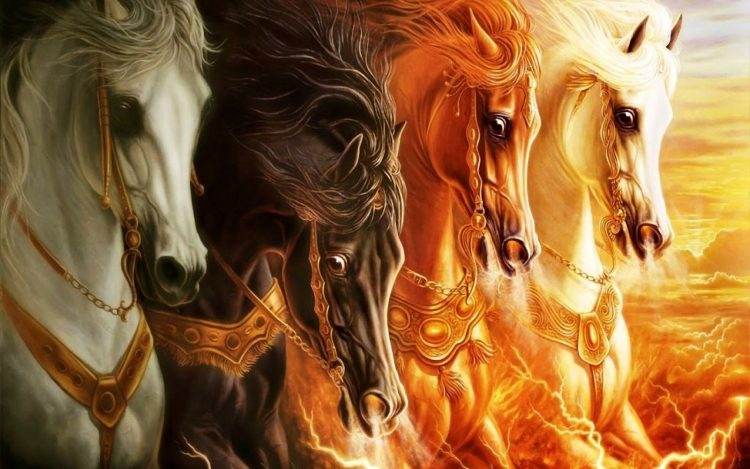 A painting of horses