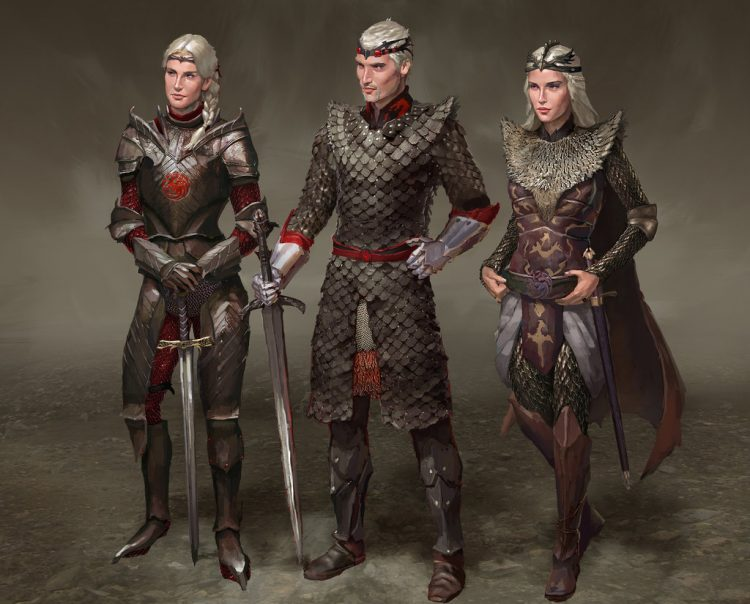 The three Dragon riders, sister-wives of Aegon