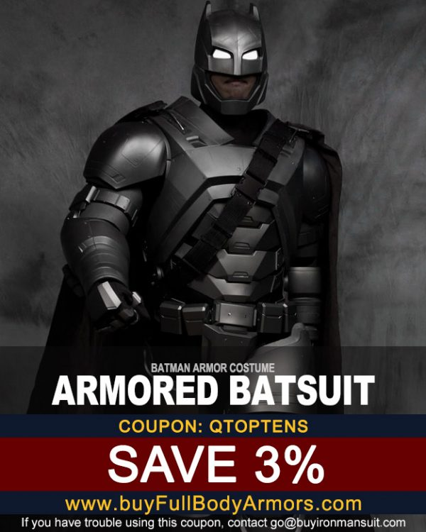 Coupon for the Batman suit created by buyfullbodyarmor.com