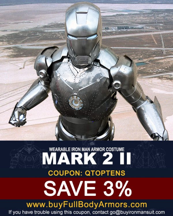 Coupon for the Mark 2 Iron Man suit from buyfullbodyarmor.com