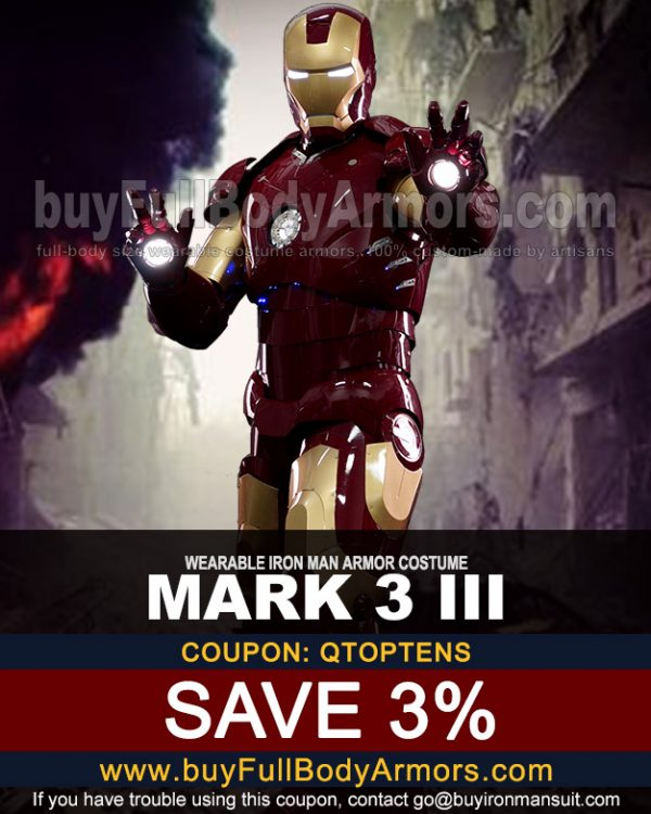 Coupon for the Mark 3/III Iron man suit from buyfullbodyarmor.com