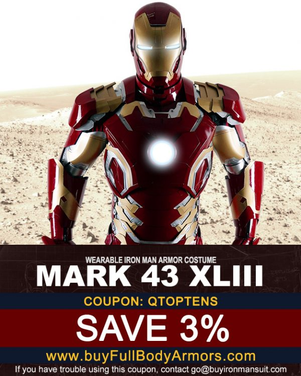Coupon for the Mark 43 Iron Man suit from buyfullbodyarmor.com