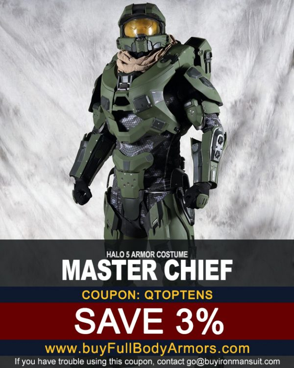 Coupon for the Master Chief suit made by buyfullbodyarmor.com