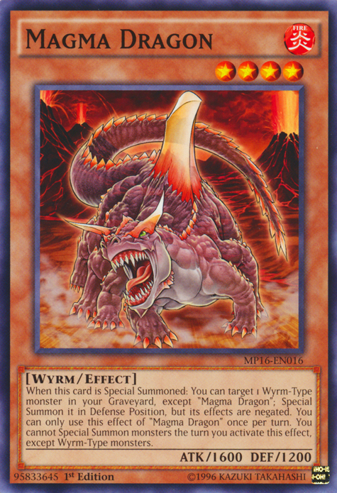Magma Dragon, one of the best Yugioh Wyrm type monsters