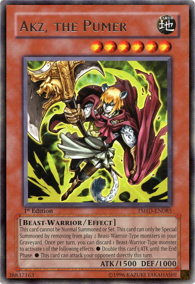Akz the Pumer, one of the best beast warrior type monsters in Yugioh