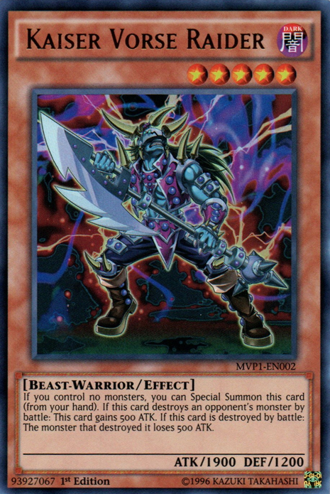 Kaiser Vorse Raider, one of the best beast warrior type monsters in Yugioh