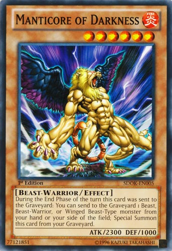 Manticore of Darkness, one of the best beast warrior type monsters in Yugioh