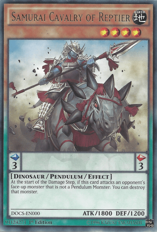 Samurai Cavalry of Reptier, one of the best yugioh dinosaur type monsters