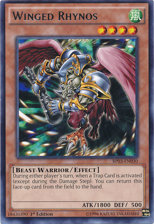 Winged Rhynos, one of the best beast warrior type monsters in Yugioh