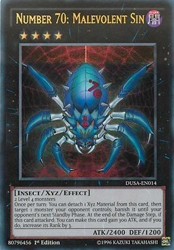 Number 70: Malevolent Sin, one of the best Yugioh insect type monsters