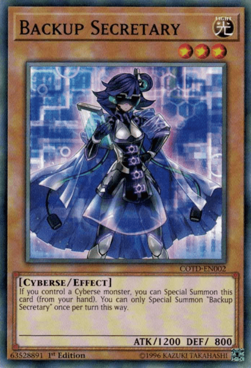 Backup Secretary, one of the best cyberse type Yugioh monsters