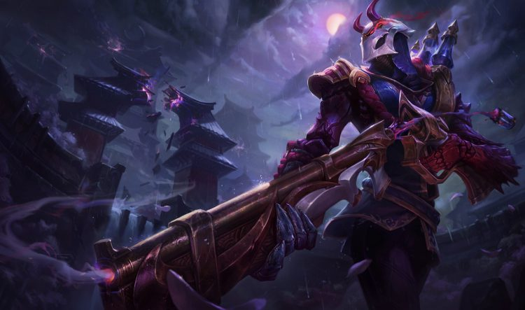 Blood Moon Jhin, one of the best splash arts in League of Legend history