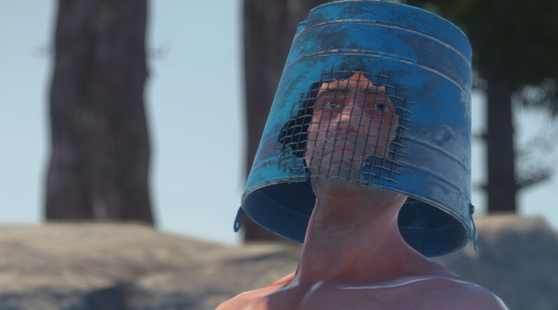 Bucket Helmet, one of the best helmets in rust