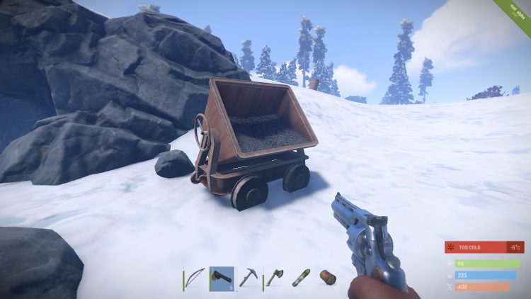 Cave cart, you can find loot there in Rust