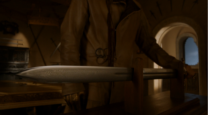 Oathkeeper, a valyrian steel sword forged from the steel from Ice
