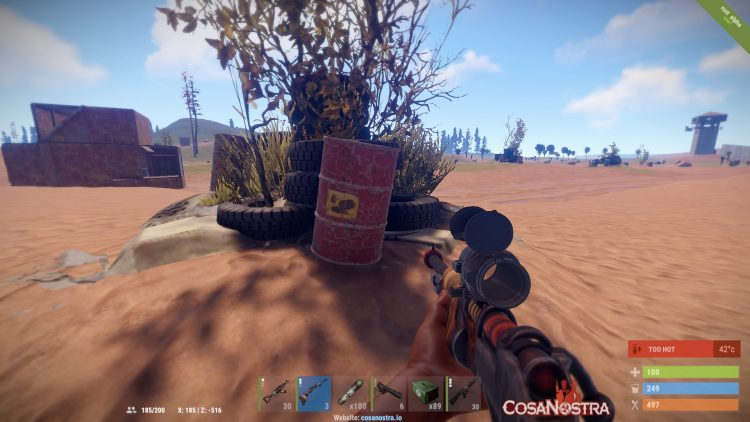 Red Barrel, one of the best loot locations in Rust