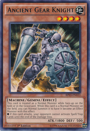 Ancient Gear Knight, one of the best gemini monsters in Yugioh