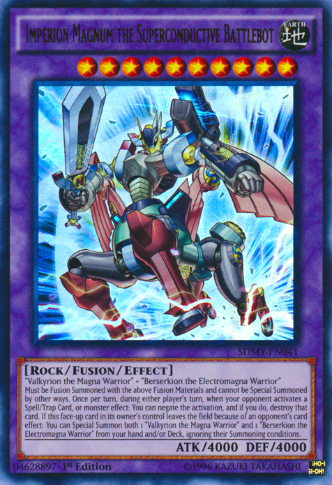 Imperion Magnum the Superconductive Battlebot, one of the most powerful Yugioh monsters