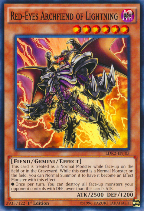 Red-Eyes Archfiend of Lightning, one of the best gemini monsters in Yugioh