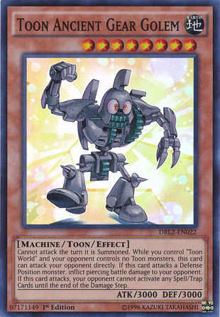 Toon Ancient Gear Golem, one of the best toon monsters in Yugioh