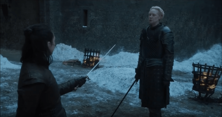 Arya spars with Brienne of Tarth, showing us just how good Arya is