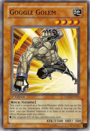 Goggle Golem, one of the best gemini monsters in Yugioh