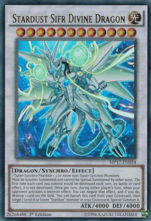 Stardust Sifr Divine Dragon, one of the best level 12 monsters in Yugioh