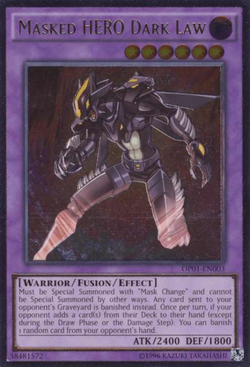 Masked Hero Dark Law, one of the best fusion monsters in Yugioh