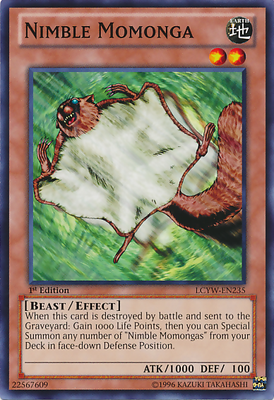 Nimble Momonga, one of the best level 2 monsters in Yugioh