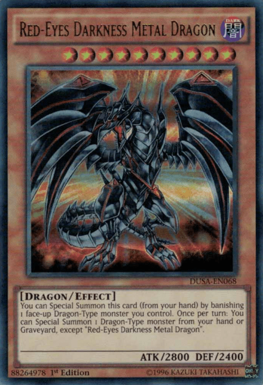 Red-Eyes Darkness Metal Dragon, one of the best level 10 monsters in Yugioh