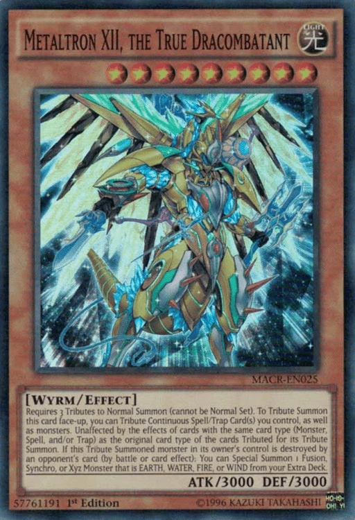 Metaltron XII the True Dracombatant, one of the best level 9 monsters in Yugioh