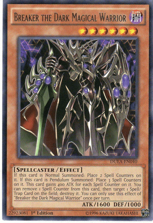 Breaker the Dark Magical Warrior, one of the best level 6 monsters in Yugioh