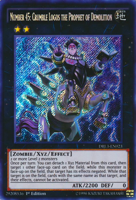 Number 45: Crumble Logos the Prophet of Demolition, one of the best rank 2 XYZ monsters in Yugioh