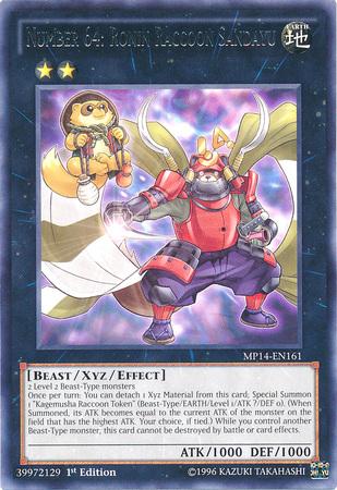 Number 64: Ronin Raccoon Sangayu, one of the best rank 2 XYZ monsters in Yugioh