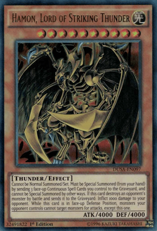 Hamon Lord of Striking Thunder, one of the best god cards in Yugioh