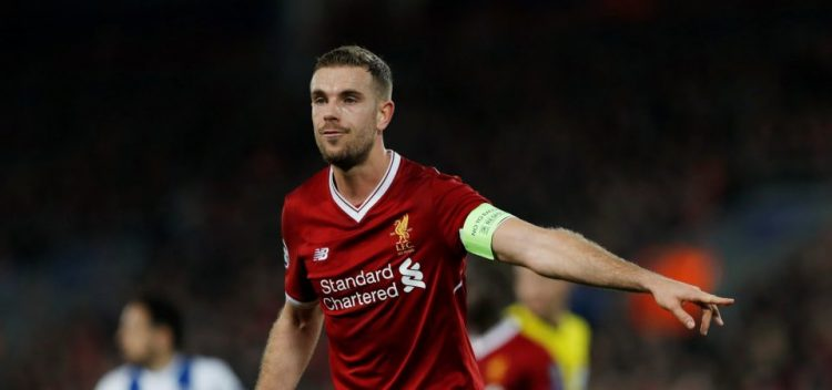 Jordan Henderson, one of the best Liverpool players during the 2017/18 season