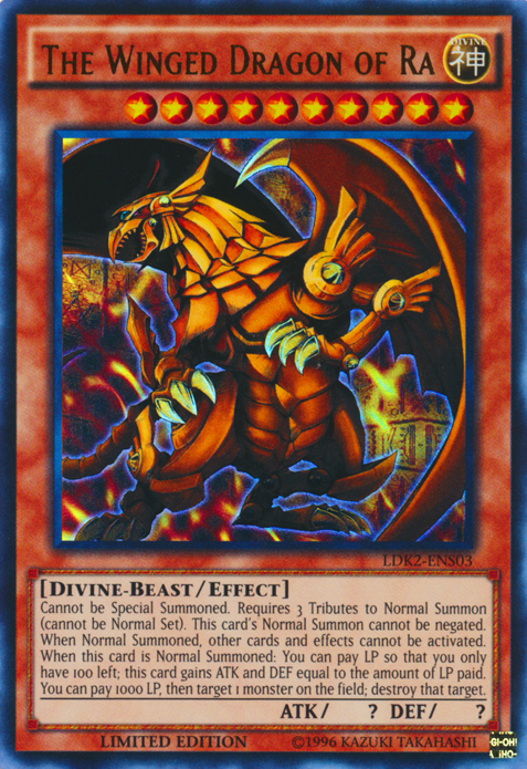 The Winged Dragon of Ra, one of the best god cards in Yugioh