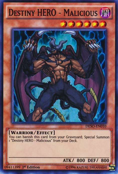 Destiny HERO - Malicious, one of the best HERO monsters in Yugioh