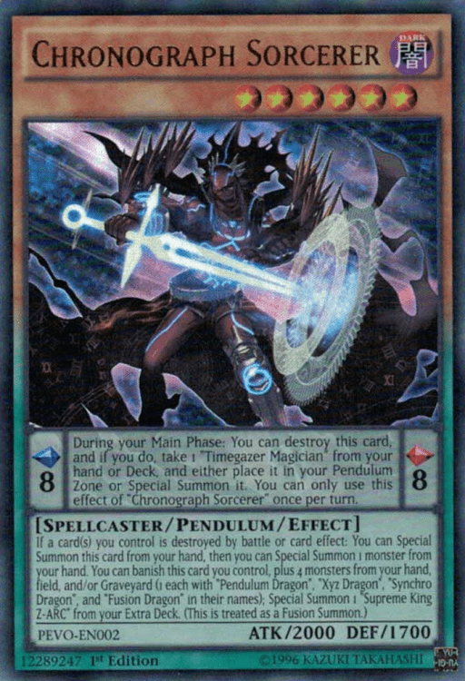 Chronograph Sorceror, a main card in Pendulums, one of the best competitive decks in Yugioh