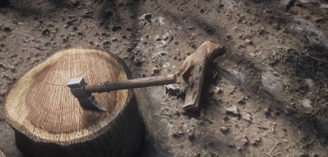 Hewing Hatchet, one of the best melee weapons in Red Dead Redemption 2