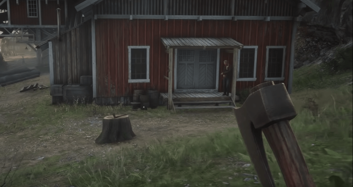 Rusted Double Bit Hatchet, one of the best melee weapons in Red Dead Redemption 2