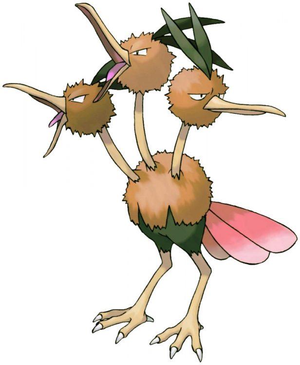 Dodrio, one of the best Flying type Pokemon in Pokemon Let's Go
